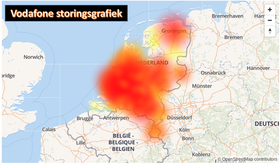 Vodafone Storing Grafiek
